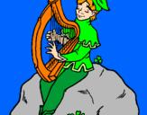 Disegno Folletto che suona l'arpa  pitturato su cami