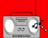 Disegno Radio cassette 2 pitturato su dinisauro 1