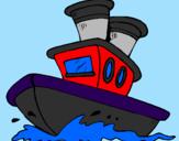 Disegno Barca sul mare  pitturato su tommaso