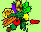 Disegno verdure  pitturato su fabio