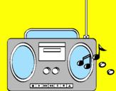 Disegno Radio cassette 2 pitturato su marco
