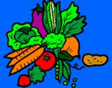 Disegno verdure  pitturato su awlin