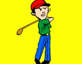 Disegno Golf pitturato su gionata