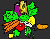 Disegno verdure  pitturato su ANITA