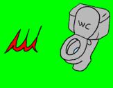 Disegno WC pitturato su andrea