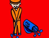 Disegno Golf II pitturato su sara