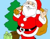 Disegno Babbo Natale con l'albero di Natale pitturato su isabella