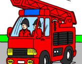 Disegno Camion dei Pompieri  pitturato su laviero
