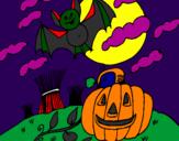 Disegno Halloween paesaggio pitturato su Anita S.