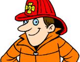 Disegno Pompiere  pitturato su MATTEO