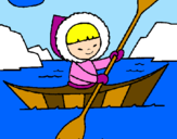 Disegno Canoa eschimese  pitturato su ROSSY,GIMMY,CIP