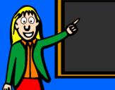 Disegno Maestra pitturato su ilary scheril