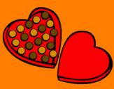 Disegno Cioccolatini pitturato su marta