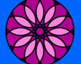 Disegno Mandala 38 pitturato su pingu