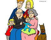 Disegno Famiglia pitturato su marigenny