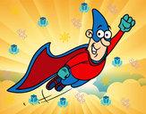 Disegno Superhero volare pitturato su miriam