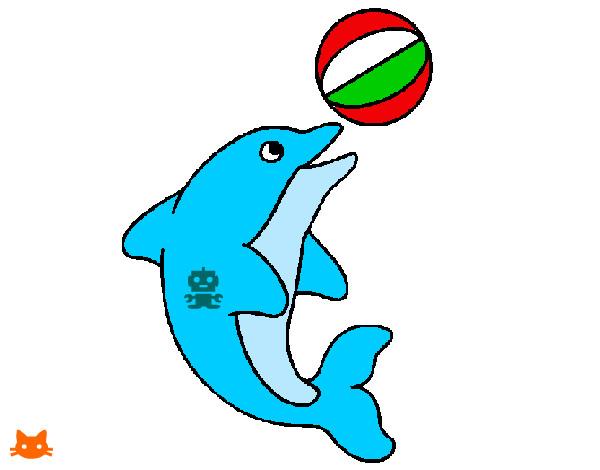 Disegno delfino con il tatuaggio colorato da alessia01 il for Disegno pesce palla