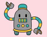 Disegno Robot con braccia lunghe pitturato su WalViolet