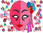 Disegno Maschera italiana  pitturato su PUFFETTA_1