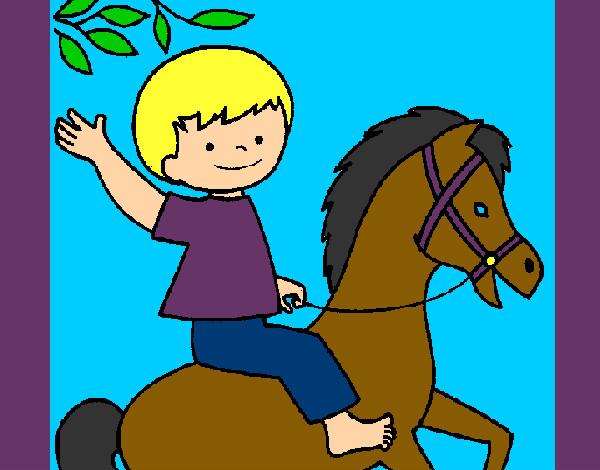 Risultati immagini per bambino a cavallo disegno