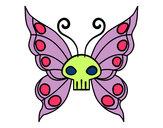 Disegno Emo Farfalla pitturato su sara