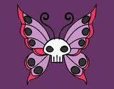 Disegno Emo Farfalla pitturato su saretta