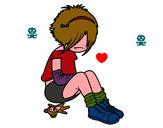 Disegno Emo Girl pitturato su gasgas