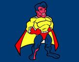 Disegno Muscoloso supereroe pitturato su Kikki
