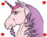 Disegno Testa di unicorno  pitturato su frary