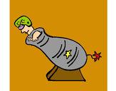 Disegno Uomo cannone pitturato su vincenzo