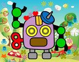 Disegno Robot con antenna pitturato su adriano