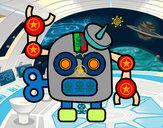 Disegno Robot con antenna pitturato su lorenzo05