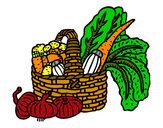 Disegno Cestino di verdure pitturato su AdriEChia