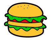 Disegno Hamburger con lattuga pitturato su AdriEChia