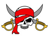 Disegno Simbolo pirata pitturato su Luca