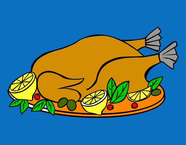 Disegno pollo con guarnizioni colorato da leon il 11 di for Immagini da colorare di pesci
