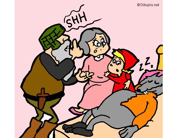 Disegno Il Cacciatore Libera Cappuccetto Rosso E La Nonna Colorato