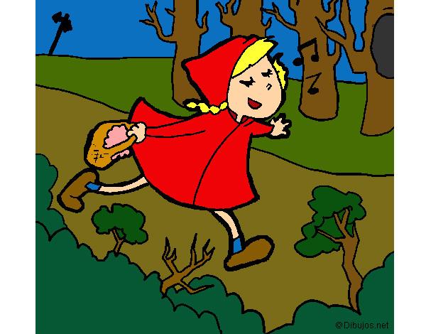 Disegno Cappuccetto Rosso Si Affretta Nel Bosco Colorato Da Rossa
