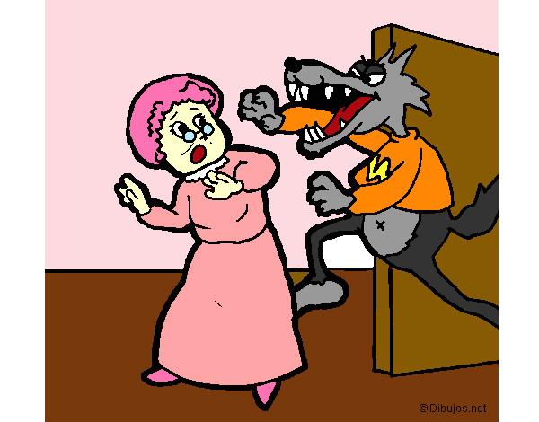 Disegno il lupo cattivo si mangia la nonna colorato da for Cappuccetto rosso da colorare