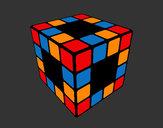 Disegno Cubo di Rubik pitturato su Luca