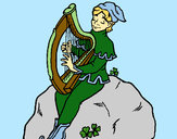 Disegno Folletto che suona l'arpa  pitturato su Faby
