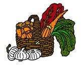 Disegno Cestino di verdure pitturato su marigenny