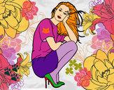 Disegno Ragazza accovacciata pitturato su helena