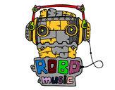 Disegno Robot music pitturato su marigenny