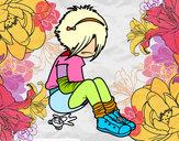 Disegno Emo Girl pitturato su pietroc