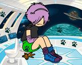 Disegno Emo Girl pitturato su polpetta