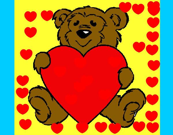 Disegno orso innamorato colorato da antonio10 il 05 di - San valentino orso da colorare pagine da colorare ...