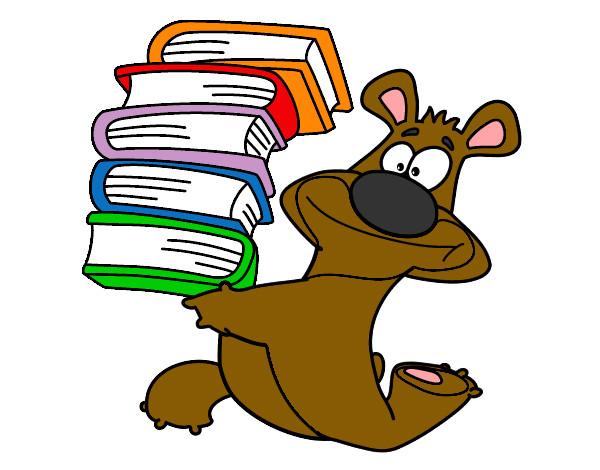 Disegno orso con i libri colorato da stella1 il 14 di for Libri scuola