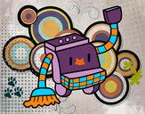 Disegno Robot di pulizia pitturato su helena