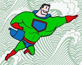 Disegno Supereroi grosso pitturato su goldchild